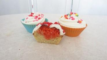 Cupcakes rellenos de corazón